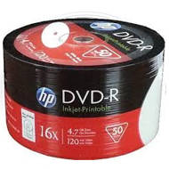 HP DVD-R | 4.7GB | x16 | WHITE FF InkJet Printable White | spindel 50 | HPP1650-